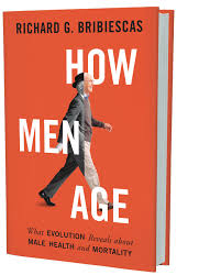 Orange book cover with a white man walking - left half black and white, right half color
